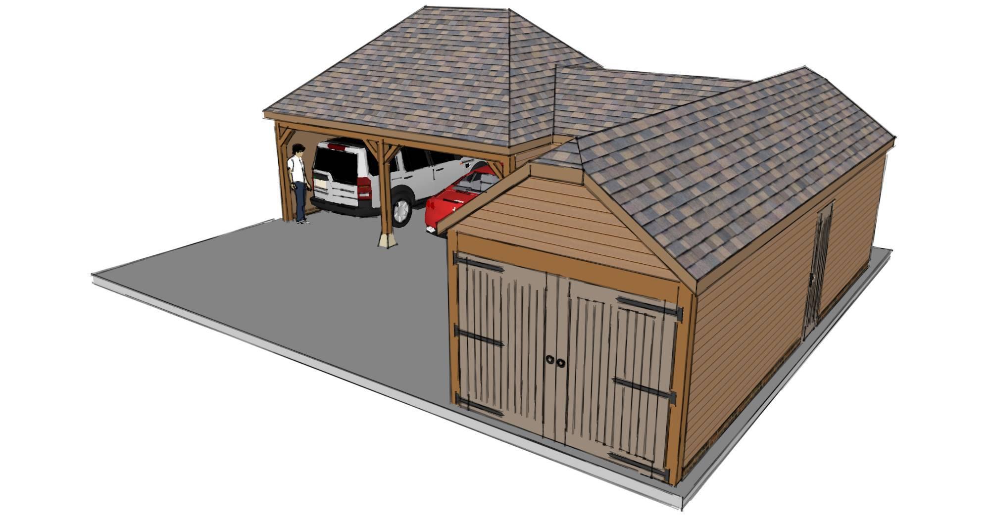 L-shaped House Plans Garage