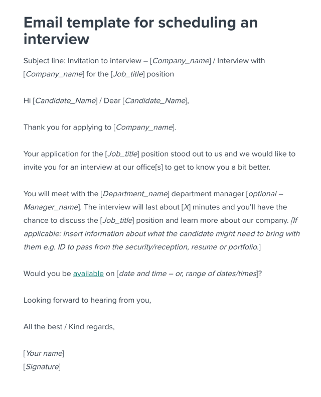 Scheduling an Interview Email Template  Workable