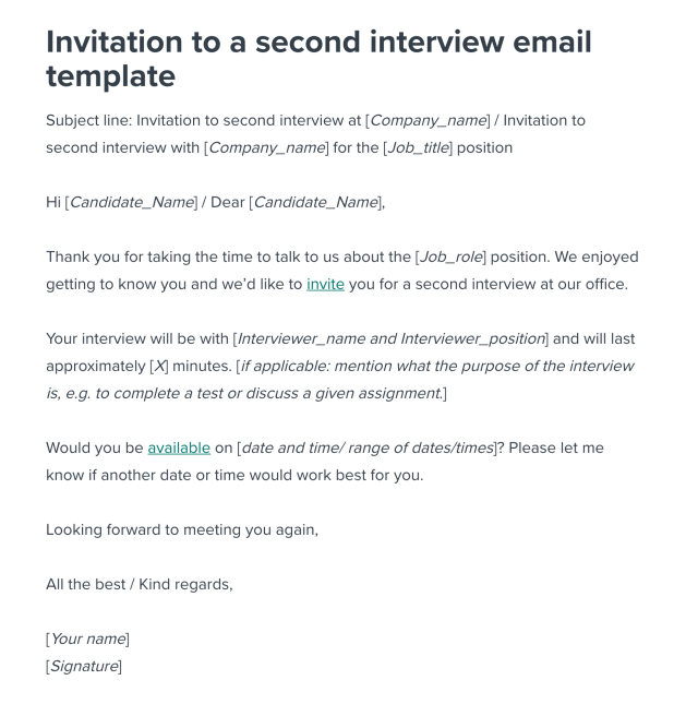 Second Interview Invitation Email Template  Workable