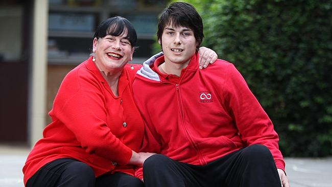 Dorothy Vasilakis with her autistic son Christiaan Dramisino at Ashford Special School earlier this year. Picture: Calum Robe...
