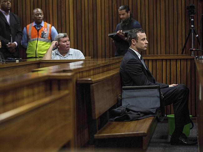 Lonely vigil ... Oscar Pistorius at the Pretoria High Court. Picture: Kevin Sutherland/Th