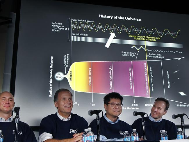 Eureka moment ... Clem Pryke, Jamie Bock, Chao-Lin Kuo and John Kovac smile during a news