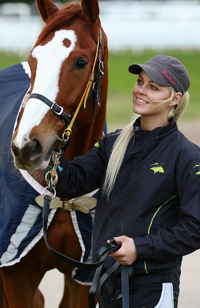 Looks Like The Cat with strapper Kiaarn Hollan at Flemington in the early spring. Picture