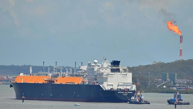 The Methane Rita Adrea docked off Gladstone Harbour. Picture: Murray Ware