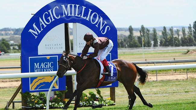 Craig Williams riding Carriages wins Race 6, the Magic Millions Clockwise Classic.