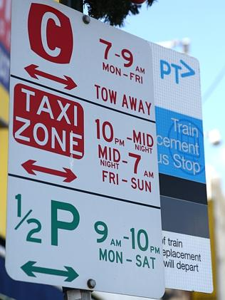 A parking sign in Sydney Rd, Brunswick. Picture: Brendan Francis