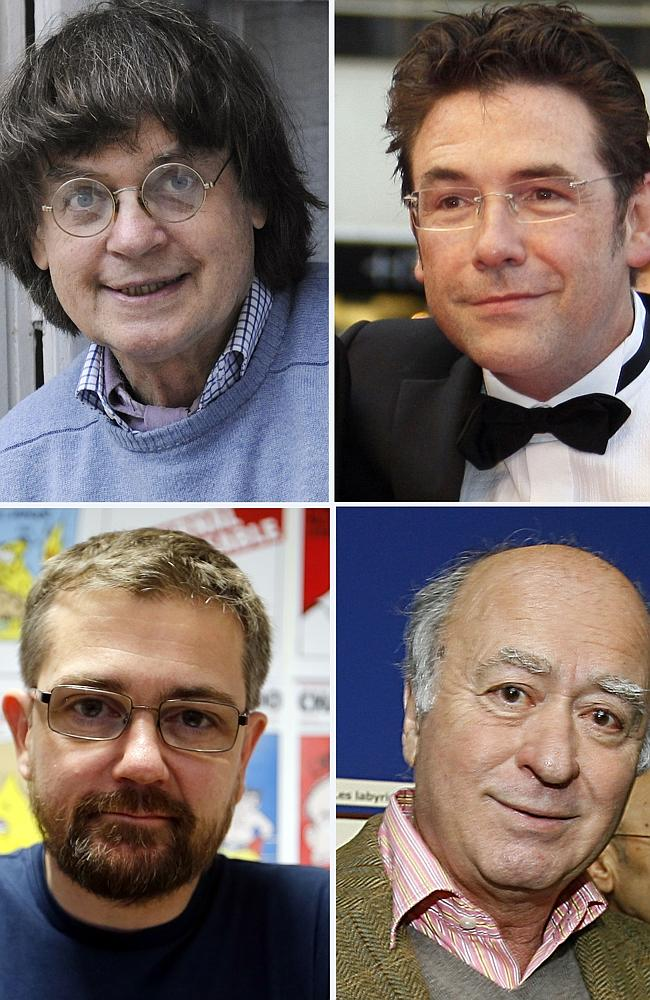 Victims ... Charlie Hebdo staff killed in the attack include (clockwise from top left) ca