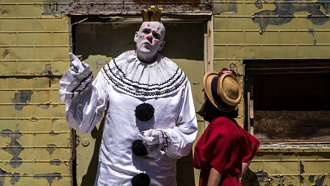 Puddles the clown with Katie Spain in Adelaide. Photo Matt Turner