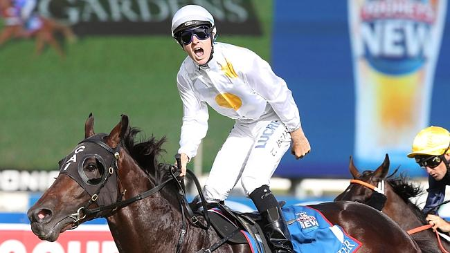 Tommy Berry rejoices after Vancouver's Slipper win.