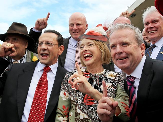 Gai Waterhouse celebrates with connections of Sweet Idea after she won the Group 1 Galaxy