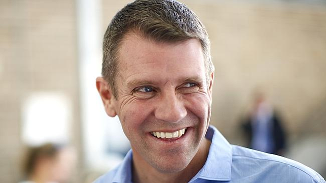 Mike Baird was all smiles at Coogee Public School on Saturday. Picture: Bradley Hunter