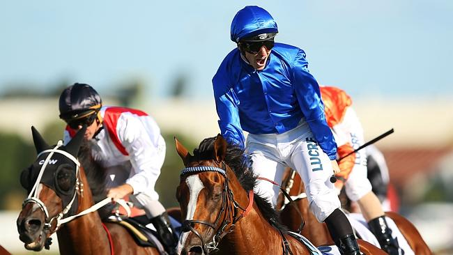 Jockey James McDonald rides Hartnell to victory in The BMW at Rosehill on Saturday