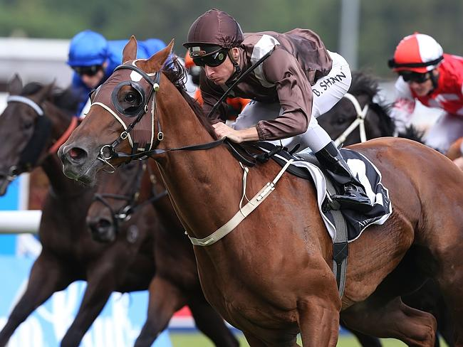Sweet Idea storms home to win The Galaxy in emphatic fashion on Golden Slipper Day. Pictu