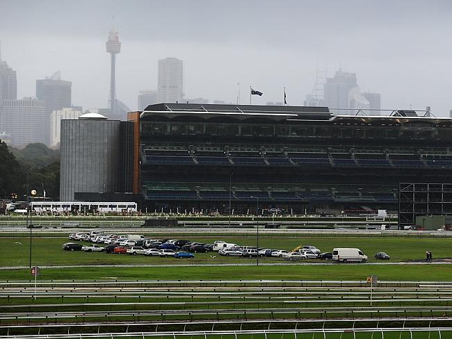 The bleak Sydney skyline reflects the appalling conditions at Randwick. Picture: Sam Rutt