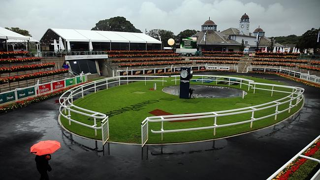 Empty house: Randwick is virtually empty after terrible rain forced officials to call off