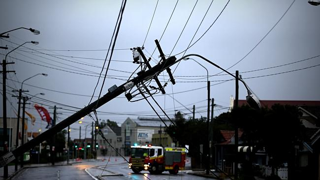 Powerlines remain down across much of Sydney. Picture: John Grainger