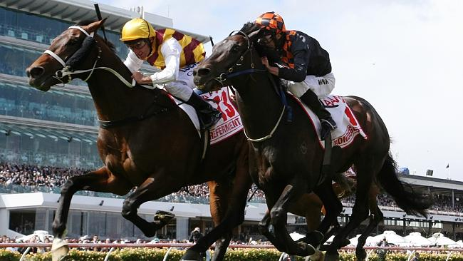 Bondeiger, right, will be set for the Caulfield Cup in the spring. Picture: George Salpig