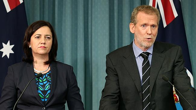 Queensland Premier Annastacia Palaszczuk and Alan MacSporran, QC, on Tuesday. Picture: Ja