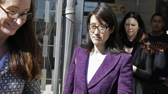 Pao, centre, leaves court in February after losing her sex discrimination lawsuit.
