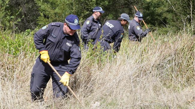 Police search a Western Sydney park following reports that a bag containing human remains was seen in the area. Pictures: Jeff Herbert Source: The Daily Telegraph