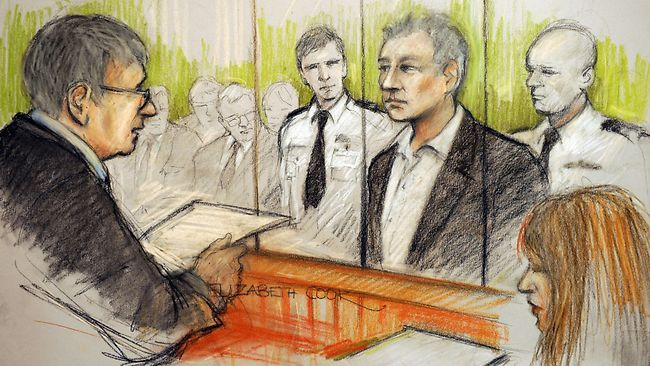 Elizabeth Cook's artist impression of WikiLeaks founder Julian Assange's appearance at Westminster Magistrates Court in London, where he was denied bail after appearing on an extradition warrant. Source: AP