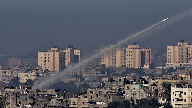 A rocket being launched from the Gaza strip into Israel