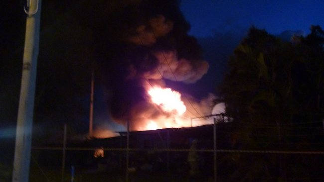 The fire at Narangba Industrial Estate on Tuesday night