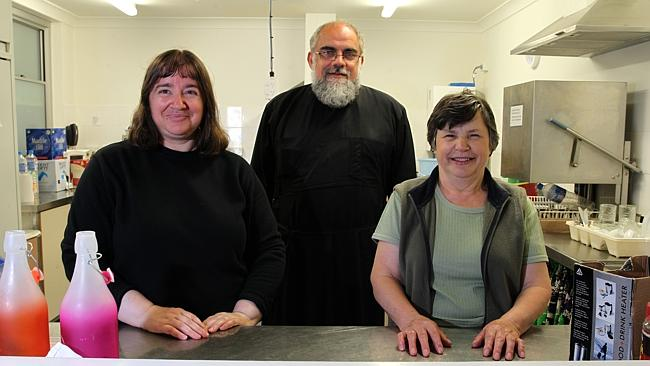 Volunteers Anastasia, of Unley and Helen, of Unley, with St Spyridon Greek Orthodox Paris