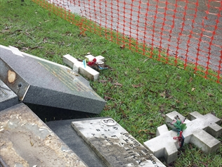 Graves and crosses destroyed at Rookwood Cemetery