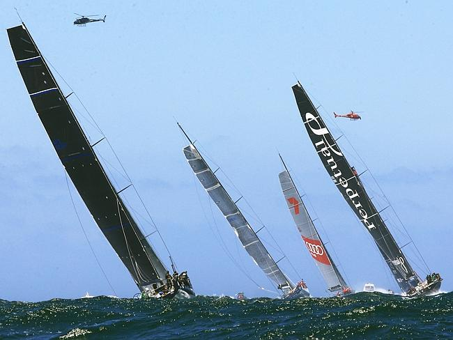 Comanche, Wild Oats XI, Ragamuffin and Perpetual Loyal head south.Picture: Mark Evans
