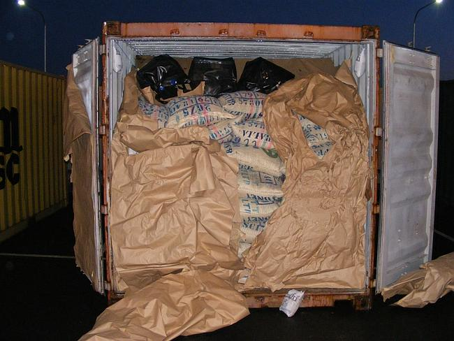 The cocaine shipment hidden in a container from Panama. Picture: Australian Federal Polic