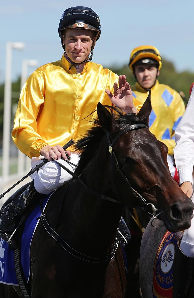 Blake Shinn returns on Bohemian Lily after winning at the Gold Coast. Picture: Luke Marsd