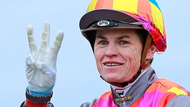 Craig Williams signals three winners for the afternoon after piloting Jessy Belle to win