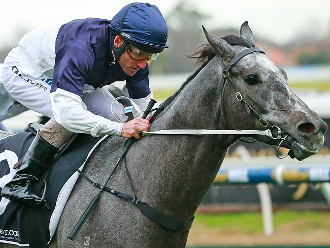 Damien Oliver and Volcanic Ash take out the fifth race. Picture: Getty Images
