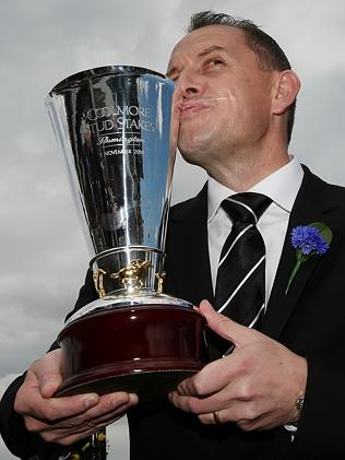 Brazen Beau: Chris Waller with the Coolmore Stud Stakes trophy. Picture: Colleen Petch