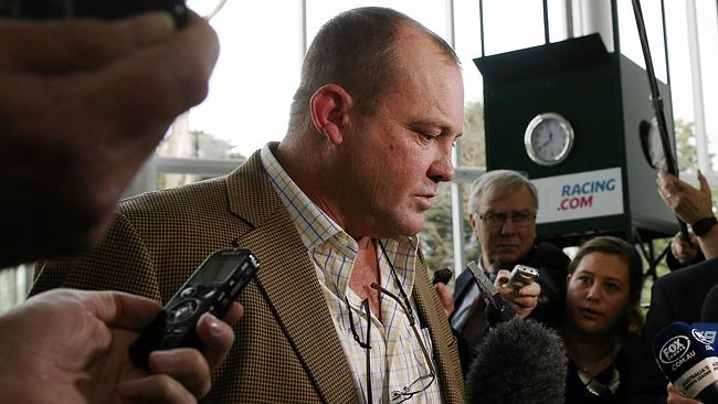 Trainer Peter Moody leaves the Racing Victoria hearing into Cobalt use yesterday. Picture
