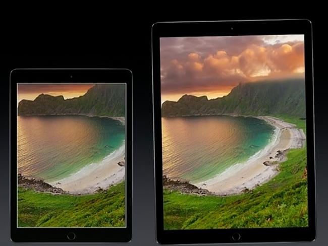 The iPad Pro on the right next to the old iPad Air on the left.