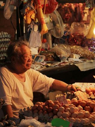 A man sells eggs in Cross Street. Picture: Sarah Nicholson