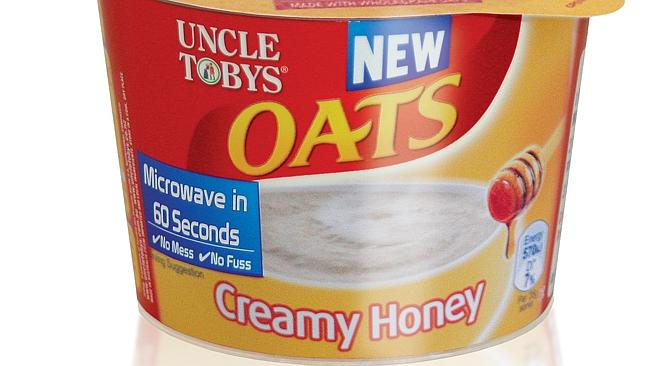 Uncle Tobys Oats creamy honey porridge.