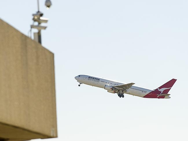 The Boeing 767 up in the air for the last time. Picture: Eugene Hyland