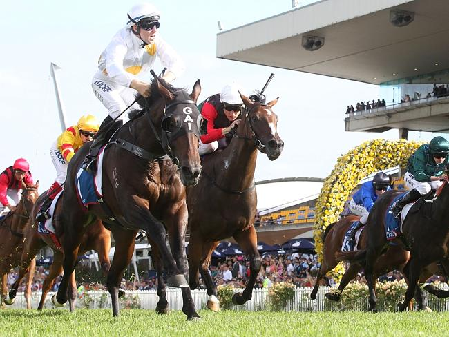 Tommy Berry celebrates as Vancouver wins the Golden Slipper. Picture: Getty Images