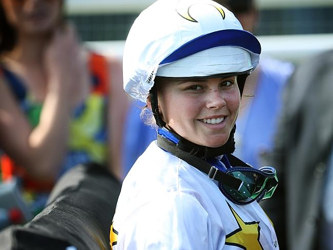 Injured jockey Winona Costin is expected to miss two weeks. Picture: Richard Dobson
