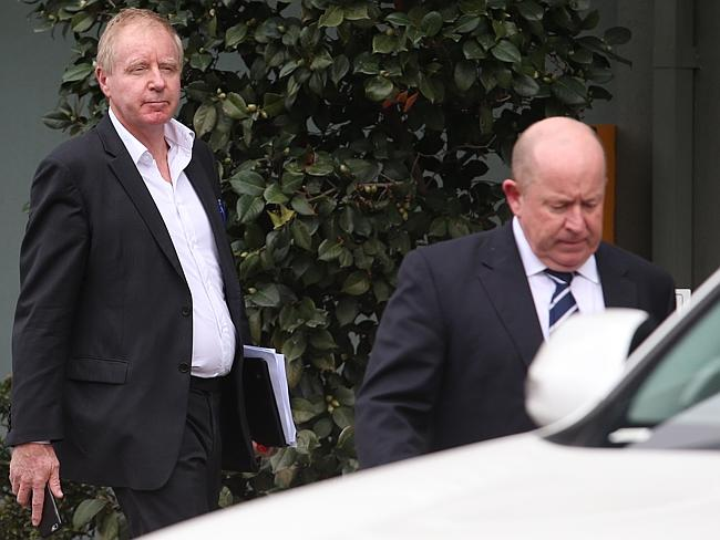 David Moodie (left) with chief executive Bernard Saundry outside the Racing Victoria offi