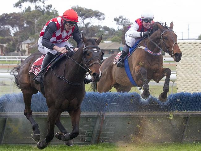 Shiny Matters and Paul Hamblin (right) in pursuit of Resetable (Martin Kelly) at Murray B