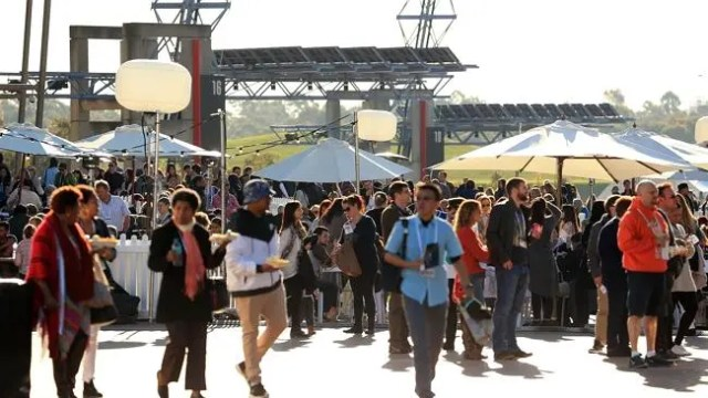 Attendees gather outside Acer Arena where the Hillsong Church is holding a week long conv