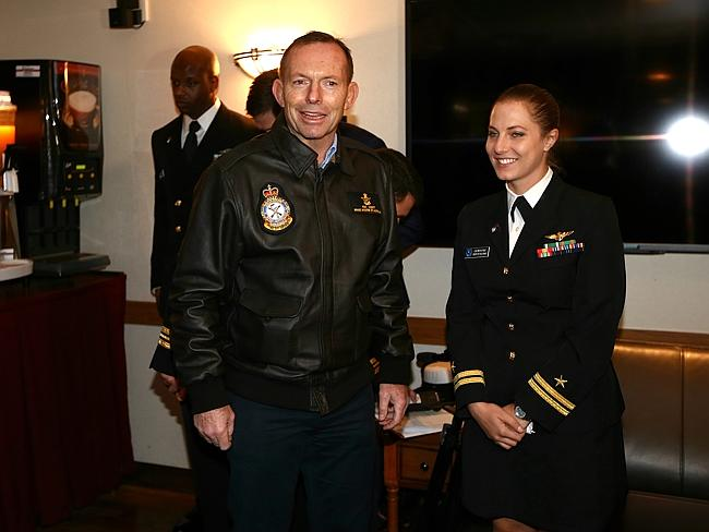 Getting to know the crew ... Tony Abbott with Lt. Lauren Cole on board the USS Blue Ridge