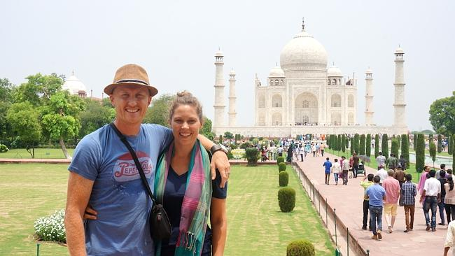 Chris and Sarah at the Taj Mahal.