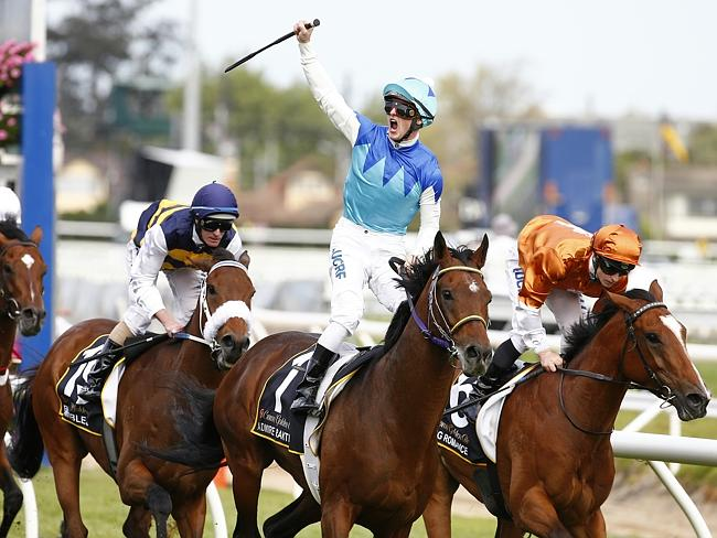 Admire Rakti wins the 2014 Caulfield Cup. Lee and Shannon Hope are due to face the Racing