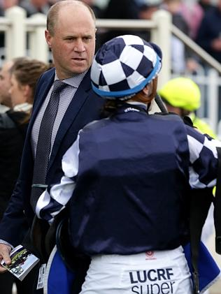 Danny O'Brien speaks with Katelyn Mallyon at Caulfield racetrack at the weekend. Picture: