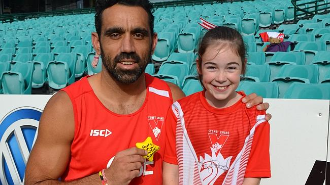Adam Goodes helped Sophie with her kicking.